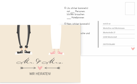 Antwortkarte zur Hochzeit Pärchen - Braun (K25)