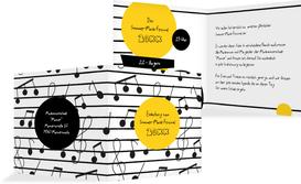 Einladung Sommerfest Musiknoten - Gelb (K24)