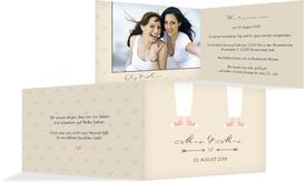 Einladungskarte zur Hochzeit Pärchen - Frauen - Braun (K19)