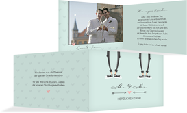Danksagungskarte zur Hochzeit Pärchen - Männer - Grün (K19)