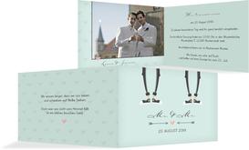Einladungskarte zur Hochzeit Pärchen - Männer - Grün (K19)