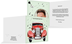 Einladung mit Foto Oldtimertreffen - Rot (K24)