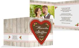 Einladungskarte Zur Hochzeit München   Rot (K24)