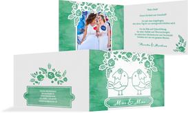 Hochzeit Danksagung Vogelpaar Brautkleid - Türkis (K19)
