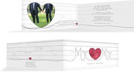 Hochzeitseinladung Mr&Mr - Rot (K33)