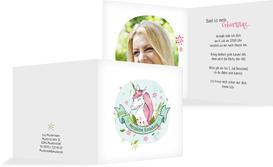 Geburtstagseinladung Einhorn mit Foto - Weiß (K24)