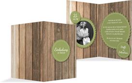 Hochzeitseinladung Vintage Holz - Grün (K20)