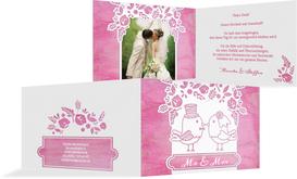 Hochzeit Danksagung Vogelpaar - Pink (K19)
