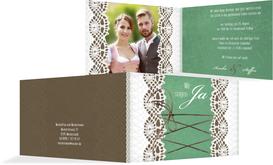 Einladung zur Hochzeit Vintage Schleife - Türkis (K19)