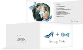 Hochzeit Danksagung High Heel und Fliege - Blau (K19)