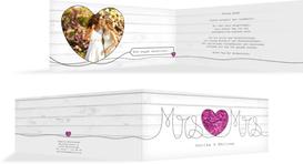 Hochzeit Dankeskarte Mrs&Mrs - Lila (K33)
