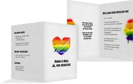 Hochzeitseinladung Regenbogenliebe - Weiß (K20)