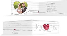 Hochzeitseinladung Mr&Mrs - Rot (K33)