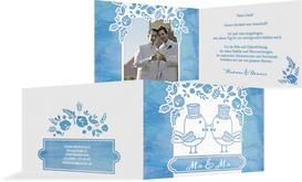 Hochzeit Danksagung Vogelpaar Zylinder - Blau (K19)