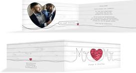 Hochzeit Dankeskarte Mr&Mr - Rot (K33)