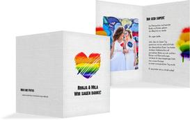 Hochzeit Dankeskarte Regenbogenliebe - Weiß (K20)
