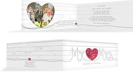 Hochzeit Dankeskarte Mr&Mrs - Rot (K33)