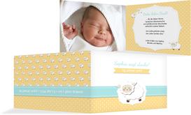 Baby Dankeskarte Schäfchenherde - Orange (K19)