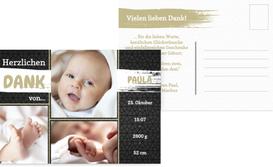 Baby Dankeskarte zur Geburt Schiefer - Braun (K25)
