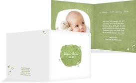 Baby Geburtskarte herzliche Sternchen - Grün (K24)