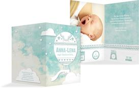 Dankeskarte zur Geburt Ballonfahrt - Türkis (K20)