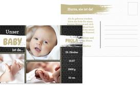 Babykarte zur Geburt Schiefer - Braun (K25)