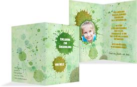 Einladung zur Einschulung Farbkleckse - Grün (K20)