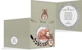 Babykarte Vintage Eule - Grün (K24)