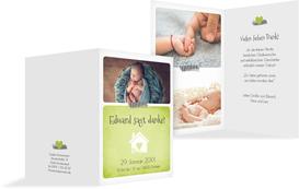Dankeskarte zur Geburt Häuschen - Grün (K20)