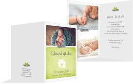 Babykarte zur Geburt Häuschen - Grün (K20)