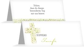 Taufe Tischkarte Blumenkreuz - Grün (K32)