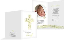 Taufe Einladung Blumenkreuz - Grün (K20)