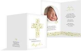 Taufe Danksagung Blumenkreuz - Grün (K20)