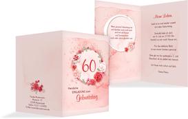 Einladung zum 60. Geburtstag Aquarell Rosen - Rot (K20)