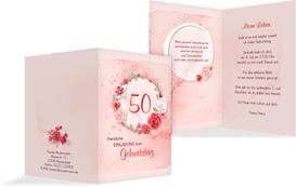Einladung zum 50. Geburtstag Aquarell Rosen - Rot (K20)