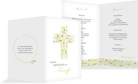 Menükarte Taufe Blumenkreuz - Grün (K38)