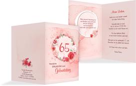 Einladung zum 65. Geburtstag Aquarell Rosen - Rot (K20)
