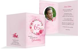 Einladung zum 65. Geburtstag Aquarell Rosen Foto - Pink (K20)