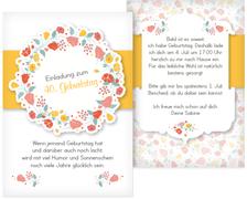 40. Geburtstag Einladung Blumenkranz - Gelb (K31)