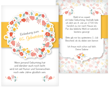 65. Geburtstag Einladung Blumenkranz   Gelb (K31)