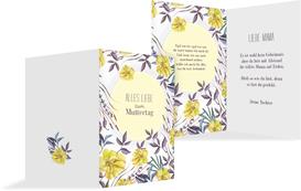 Karte für Muttertag Blumenwiese - Gelb (K20)