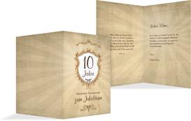 Karte zum Jubiläum Retro Wappen - Braun (K20)