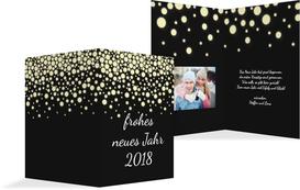 Neujahrskarte Funkelregen - Schwarz (K20)