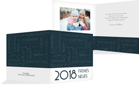 Neujahrskarte Schlagworte - Dunkelblau (K24)