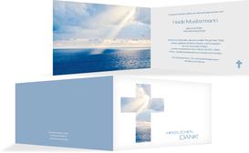 Dankeskarte Himmelskreuz quer - Blau (K27)