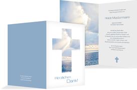Dankeskarte Himmelskreuz hoch - Blau (K28)