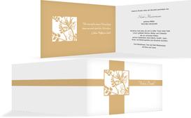 Dankeskarte Florales Quadrat quer - Orange (K27)