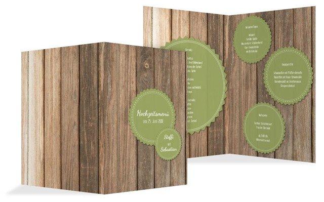Menükarte zur Hochzeit Vintage Holz