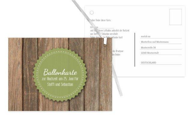 Ballonkarte Vintage Holz