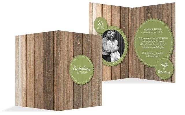 Hochzeitseinladung Vintage Holz